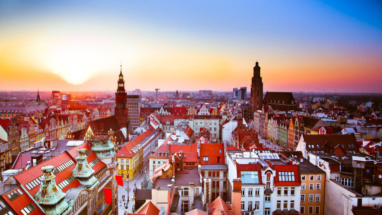 Wroclaw city sunset